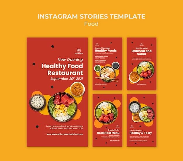 Colección de historias de instagram para restaurante con plato de comida saludable