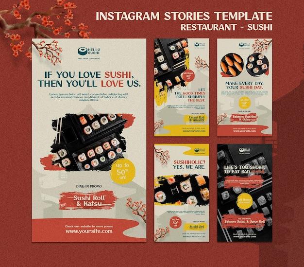 Colección de historias de instagram para restaurante de sushi