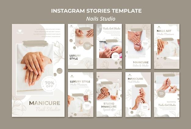 Colección de historias de instagram para salón de uñas