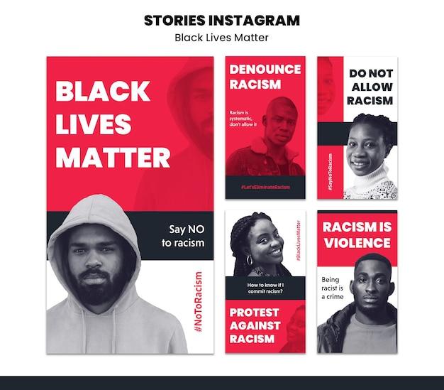 Colección de historias de instagram sobre racismo y violencia