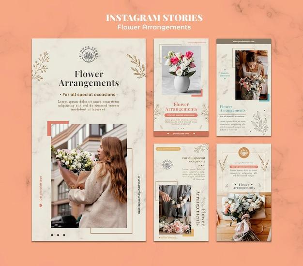 Colección de historias de instagram para tienda de arreglos florales