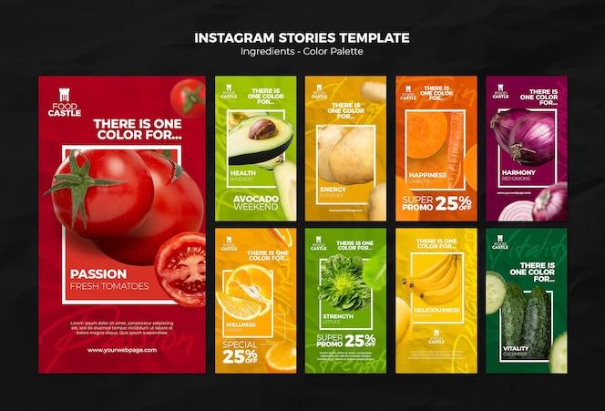 Colección de historias de instagram con verduras y frutas vibrantes