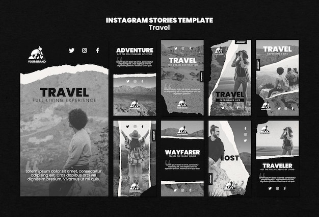 Colección de historias de instagram de viaje