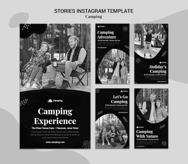Colección de historias monocromáticas de instagram para acampar en pareja