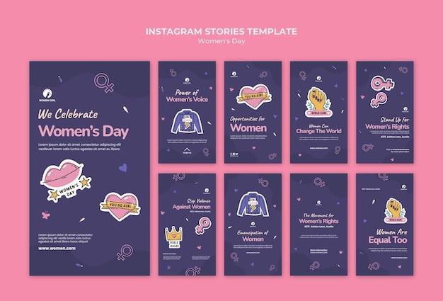 Colección de historias de redes sociales del día de la mujer