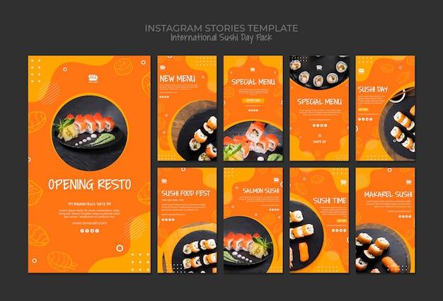 Colección de historias de redes sociales de instagram para restaurante de sushi