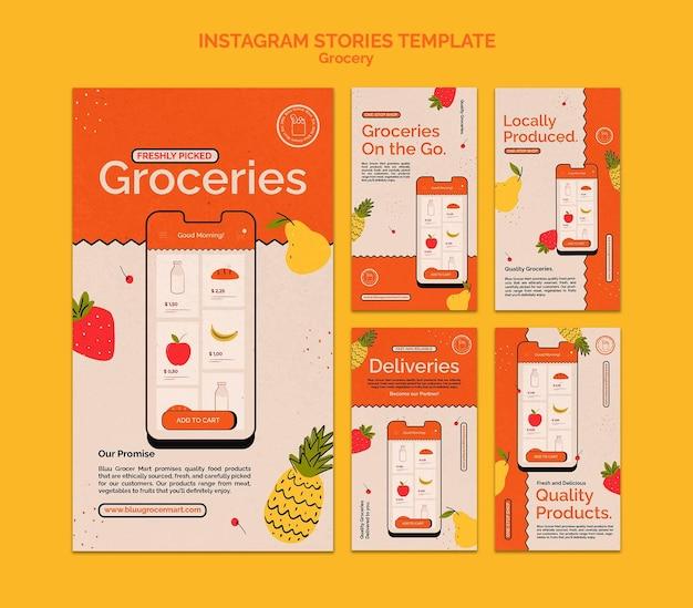 Colección de historias de redes sociales del servicio de entrega de comestibles