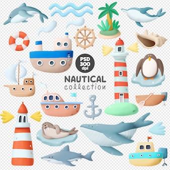 Colección de imágenes prediseñadas dibujadas a mano náutica