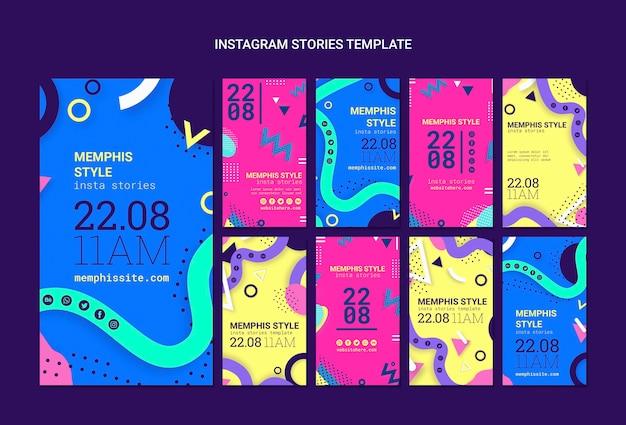 Colección de instagram stories planos estilo memphis