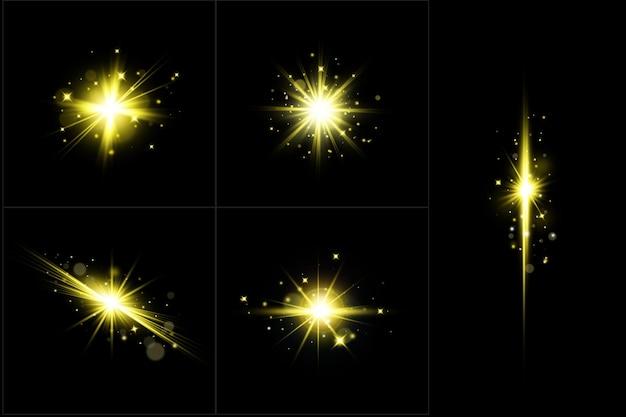 Colección de luces de lentes doradas que brillan intensamente, conjunto de destellos de lentes