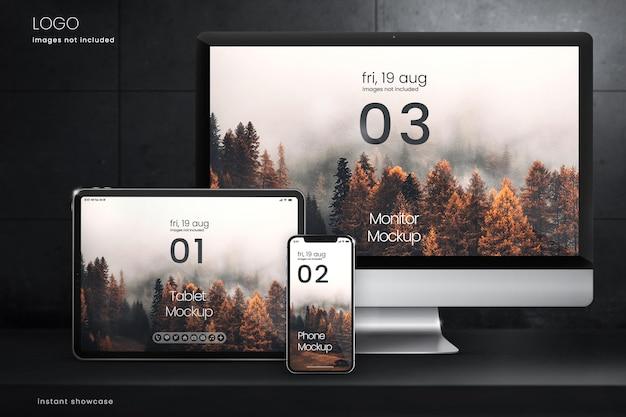 Colección de maquetas de pantallas digitales sobre fondo de hormigón oscuro