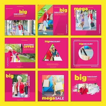 Colección de maquetas de tarjetas de rebajas