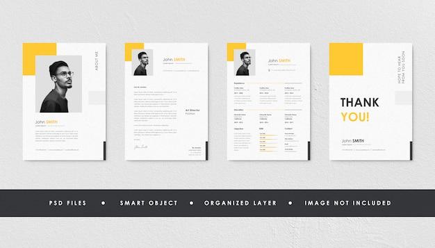 Colección minimalista amarilla del curriculum vitae del currículum