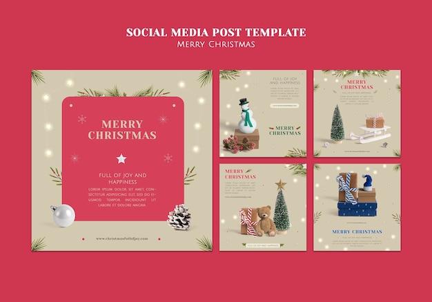 Colección minimalista de publicaciones de instagram navideñas