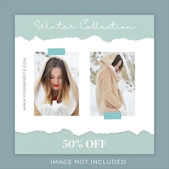 Colección de moda de invierno plantilla de banner de redes sociales de papel rasgado