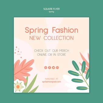 Colección de moda de primavera flyer cuadrado