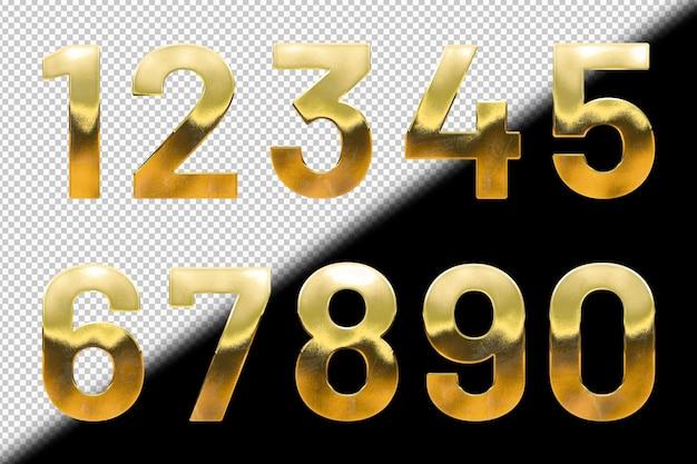 Colección de números dorados
