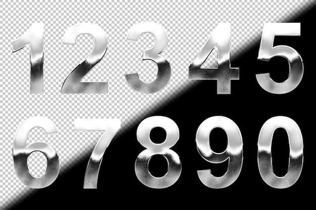 Colección de números plateados