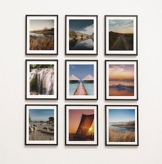 Colección de piezas de arte en la pared.
