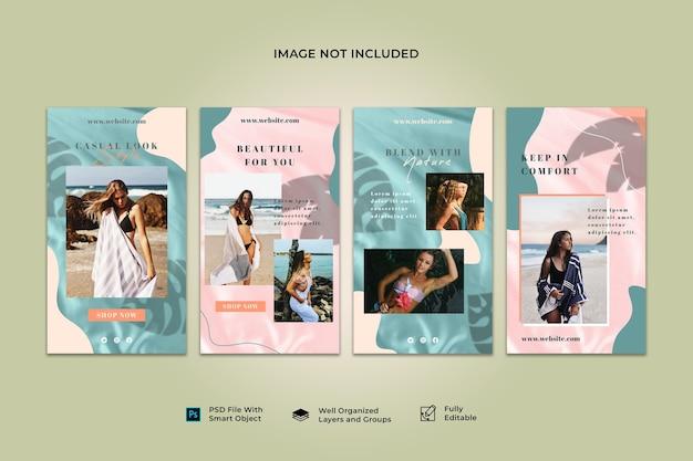 Colección de plantillas de banner de publicación de historias de instagram de redes sociales