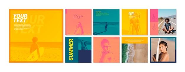 Colección de plantillas de banners web con concepto de verano