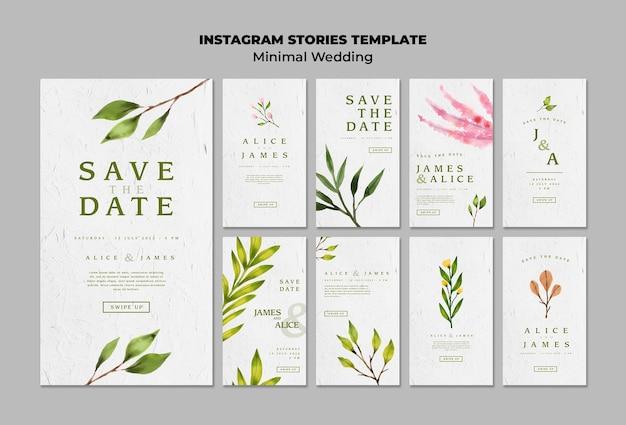 Colección de plantillas de historias de boda creativas