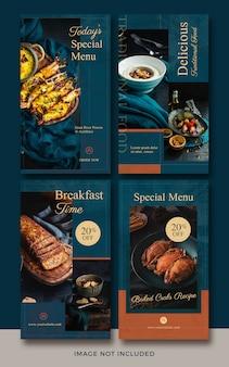 colección de plantillas de historias de instagram para comida y restaurantes