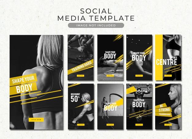 Colección de plantillas de historias de instagram de gimnasio y fitness