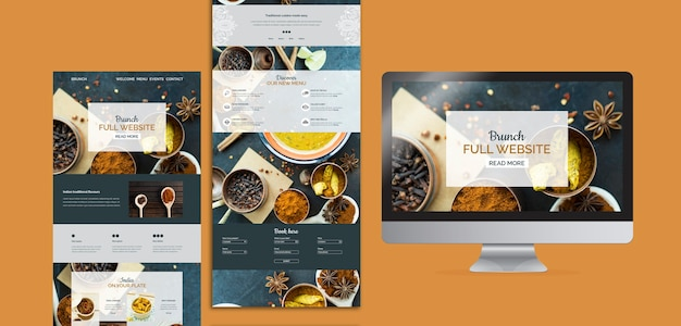 Colección de plantillas de página web de comida hindú
