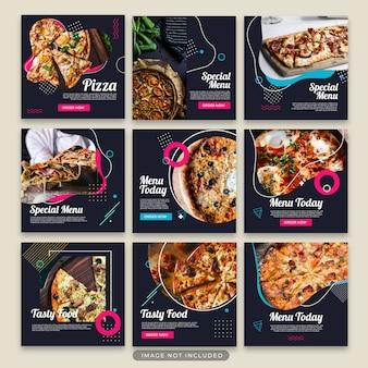 Colección de plantillas de post de pizza psd