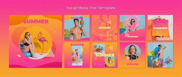 Colección de plantillas de posts de redes sociales en estilo memphis para verano