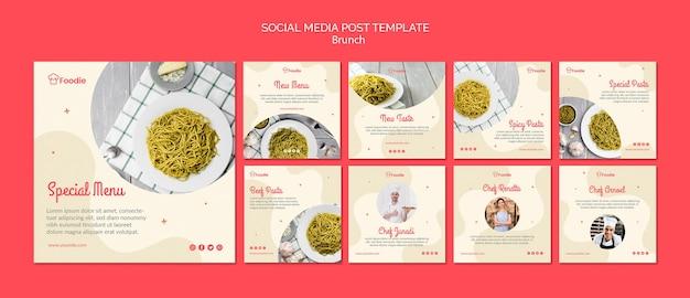 Colección de plantillas de publicaciones de instagram para restaurante