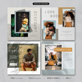 Colección de plantillas de publicaciones de moda