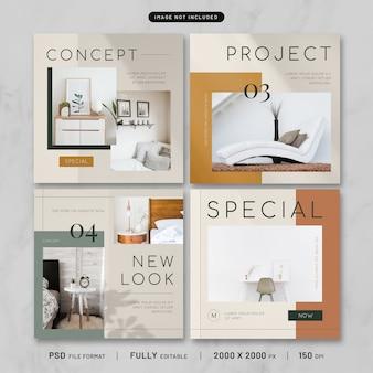 Colección de plantillas de publicaciones de muebles modernos