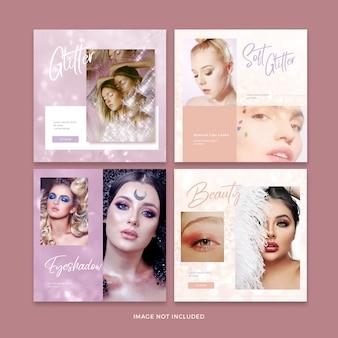 Colección de plantillas de publicaciones de redes sociales de banner de maquillaje