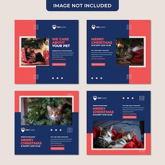 Colección de plantillas de publicaciones en redes sociales con descuento de navidad y mascotas