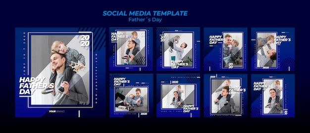 Colección de plantillas de publicaciones en redes sociales del día del padre