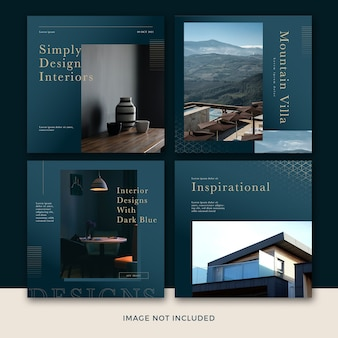 Colección de plantillas de publicaciones de redes sociales de muebles modernos