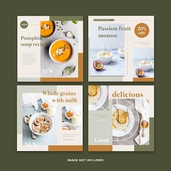 Colección de plantillas de publicaciones de redes sociales de restaurantes de comida saludable