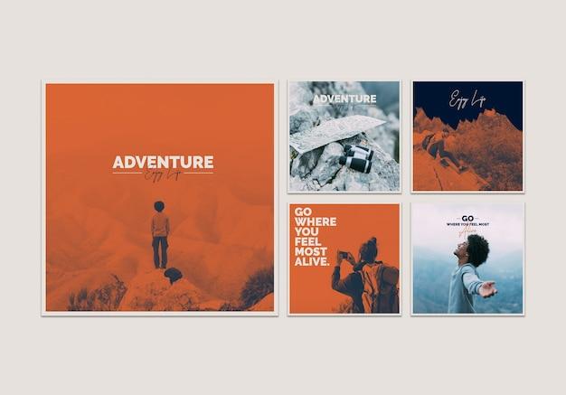 Colección de plantillas de tarjetas con concepto de aventura