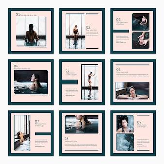 Colección de plantillas de tarjetas con concepto de spa