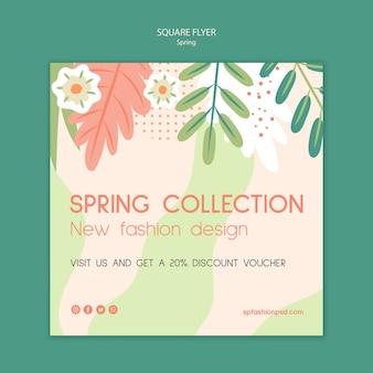 Colección primavera flyer cuadrado
