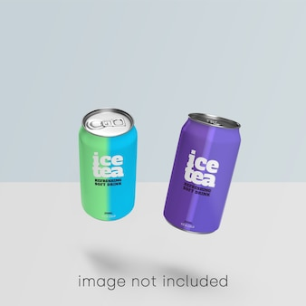 Colección de psd de maqueta de lata de refresco