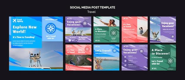 Colección de publicaciones de instagram para agencia de viajes