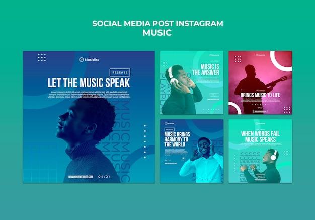 Colección de publicaciones de instagram para amantes de la música