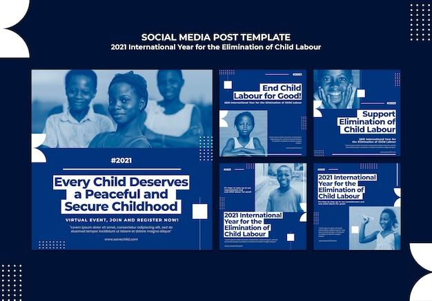 Colección de publicaciones de instagram para el año internacional para la erradicación del trabajo infantil