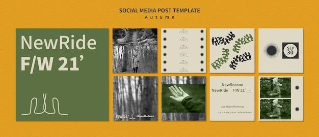Colección de publicaciones de instagram para aventuras otoñales en el bosque