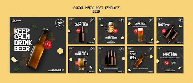 Colección de publicaciones de instagram para beber cerveza