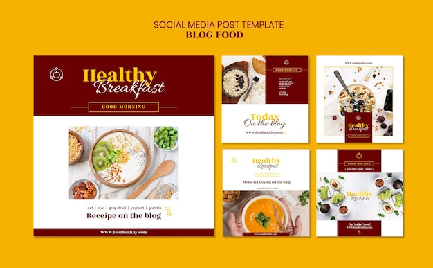 Colección de publicaciones de instagram para el blog de recetas de comida saludable