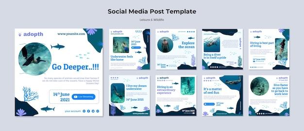 Colección de publicaciones de instagram para el buceo submarino